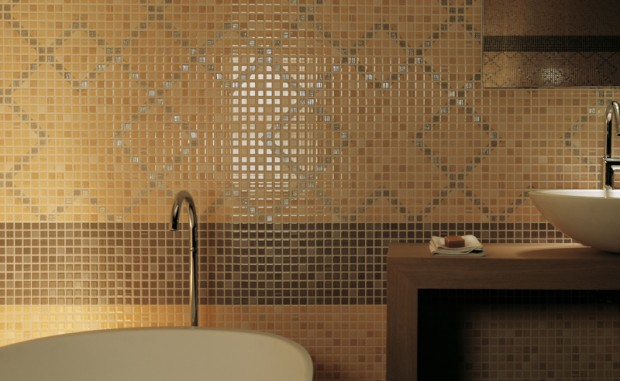 Mosaico pop up fap ceramiche - Bagno marrone e beige ...