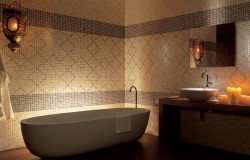 bagno con mosaico fap ceramiche pop up, colore marrone tono su tono